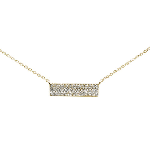 ".18ct 14K Yellow Gold Modern Diamond Bar Necklace 16"" + 1"" Ext"