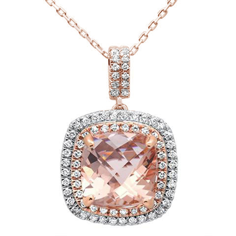 3.96ct 14K Two Tone Rose Gold Cushion Morganite & Diamond Pendant Necklace