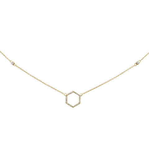 .13ct 14KT Yellow Gold Diamond Geometric Shape Circle Pendant Necklace 18""