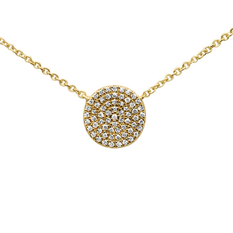 .13ct 14KT Yellow Gold Diamond Pave Disc Solitaire Pendant Necklace 18""