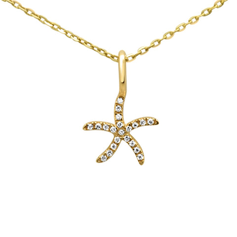 .04ct 14KT Yellow Gold Diamond Starfish Pendant Necklace 18""