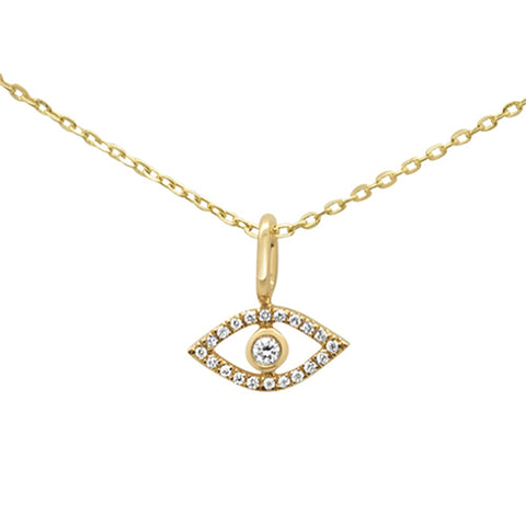 .05ct 14KT Yellow Gold Evil Eye Diamond Pendant Necklace 18""