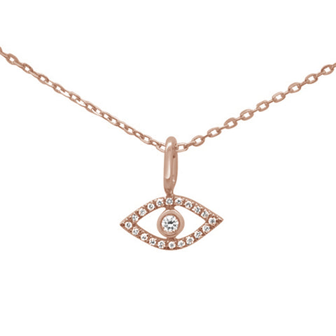 .05ct 14KT Rose Gold Evil Eye Diamond Pendant Necklace 18""
