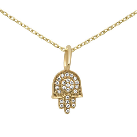 .36ct 14KT Yellow Gold Diamond Hand of Hamsa Pendant Necklace 18""