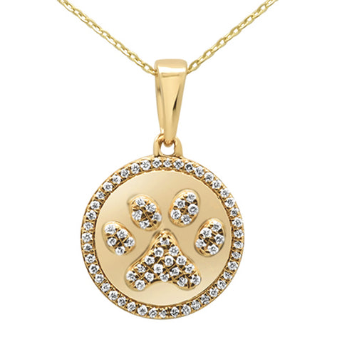 .33ct 14KT Yellow Gold Diamond Paw Print Pendant Necklace 18""