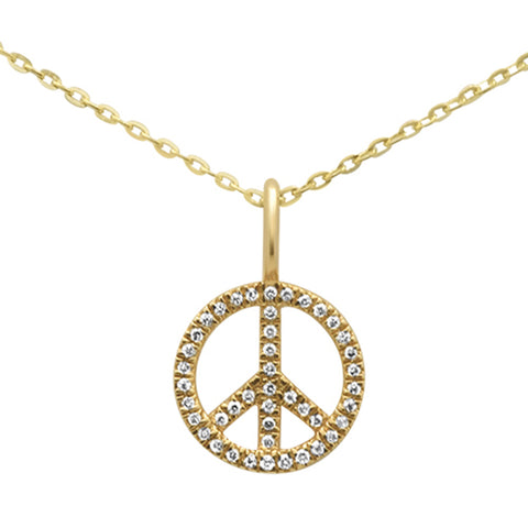 .07ct 14KT Yellow Gold Diamond Peace Sign Pendant Necklace 18""