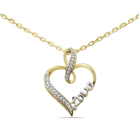 .10ct G SI 10kt Yellow Gold Love Heart Diamond Pendant