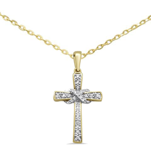 .10ct G SI 10kt Yellow Gold Infinity Cross Diamond Pendant