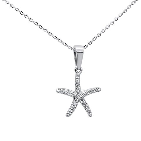 ".17ct 14K White Gold Round Diamond Starfish Pendant Necklace 16""+ 2"" Ext."