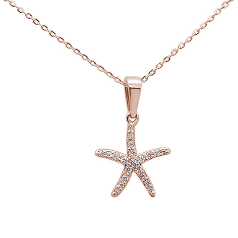 ".17ct 14K Rose Gold Round Diamond Starfish Pendant Necklace 16""+ 2"" Ext."
