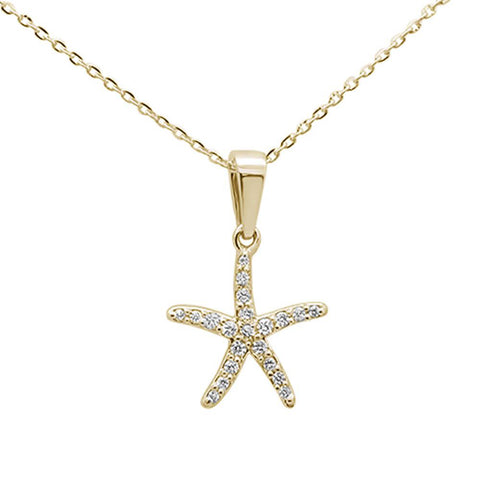.17ct 14K Yellow Gold Diamond Starfish Pendant Necklace 18""