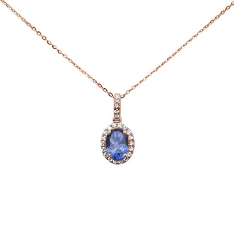 ".89ct 14K Rose Gold Natural Tanzanite & Diamond Pendant Necklace 16""+ 2"" Ext."