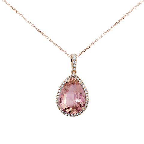 "3.94ct 14K Rose Gold Natural Morganite & Diamond Pendant Necklace 16""+ 2"" Ext."