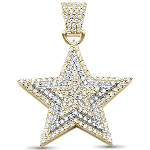 "<span style=""color:purple"">SPECIAL!</span>2.00ct F SI 10kt Yellow Gold Diamond Hip Hop Micro Pave Star Charm Pendant"