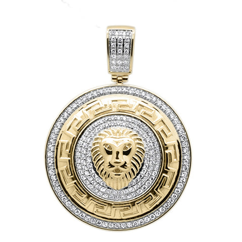 "<span style=""color:purple"">SPECIAL!</span>1.50ct F SI 10kt Yellow Gold Lion Greek Key Micro Pave Diamond Charm Pendant"