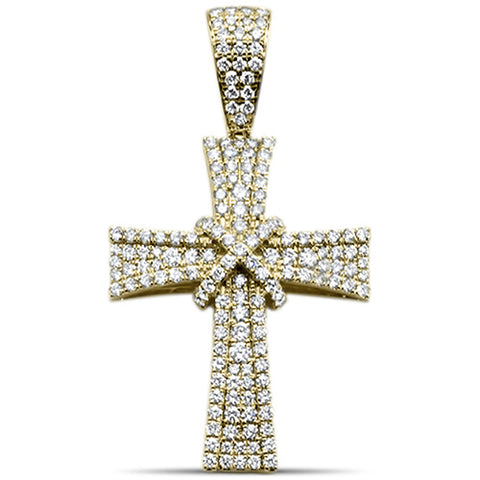 "<span style=""color:purple"">SPECIAL!</span>1.75ct F SI 10kt Yellow Gold Micro Pave Hip Hop Cross Diamond Charm Pendant"