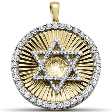 "<span style=""color:purple"">SPECIAL!</span> .33ct F SI 10kt Yellow Gold Star of David Diamond Micro Pave Pendant"