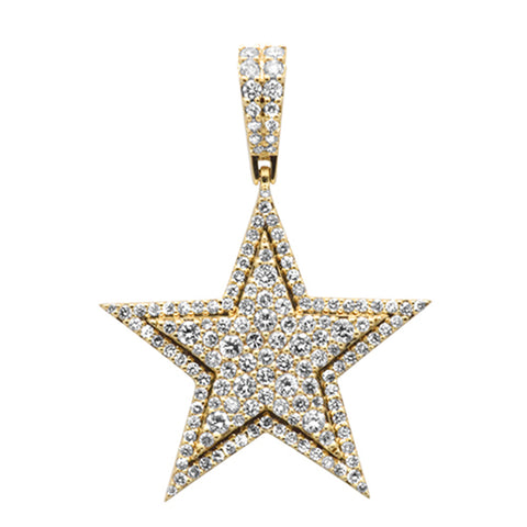 "<span style=""color:purple"">SPECIAL!</span> 1.13ct G SI 10K Yellow Gold Diamond Micro Pave Iced Out Star Charm Pendant"