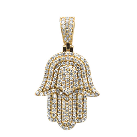 "<span style=""color:purple"">SPECIAL!</span> .96ct G SI 10K Yellow Gold Diamond Micro Pave Iced out Hand of Hamsa Charm Pendant"