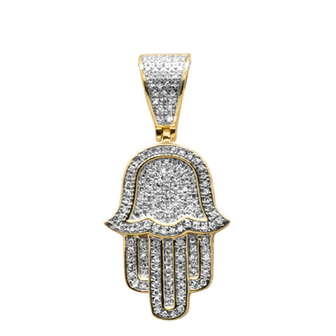 "<span style=""color:purple"">SPECIAL!</span>.29ct G SI 10K Yellow Gold Diamond Micro Pave Iced Out Hand of Hamsa Charm Pendant"