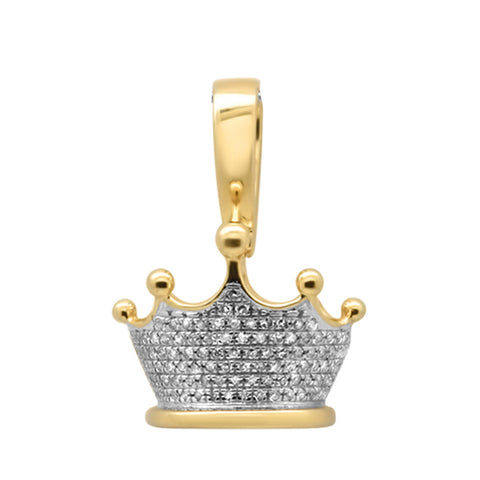 "<span style=""color:purple"">SPECIAL!</span>.26ct G SI 10K Yellow Gold Diamond Men's Micro Pave Iced Out Crown Charm Pendant"