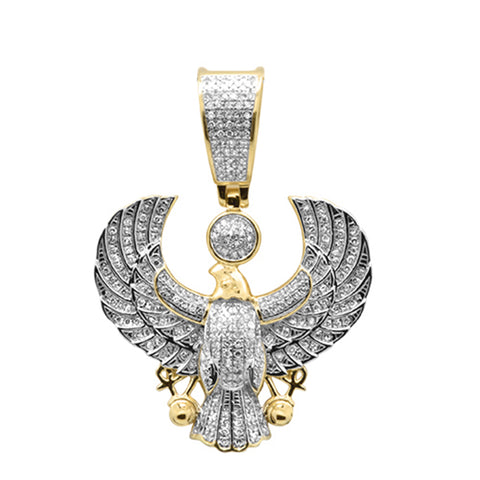 "<span style=""color:purple"">SPECIAL!</span>.63ct G SI 10K Yellow Gold Diamond Men's Iced Out Micro Pave Eagle Charm Pendant"