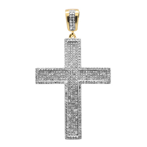 "<span style=""color:purple"">SPECIAL!</span> 1.01ct G SI 10K Yellow Gold Diamond Micro Pave Iced Out Charm Pendant"