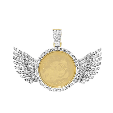 "<span style=""color:purple"">SPECIAL!</span>3.00ct G SI 10K Yellow Gold Wings Diamond Circle Micro Pave Iced Out Picture Locket Pendant"