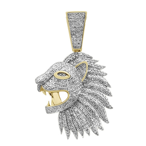 "<span style=""color:purple"">SPECIAL!</span>.74ct G SI 10K Yellow Gold Diamond Micro Pave Hip Hop Lion Head Charm Pendant"