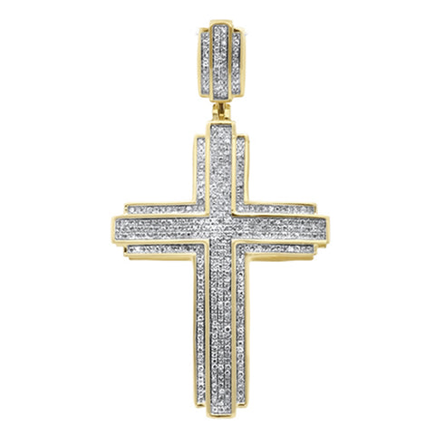 "<span style=""color:purple"">SPECIAL!</span>.69ct G SI 10K Yellow Gold Micro Pave Diamond Iced Out Cross Charm Pendant"