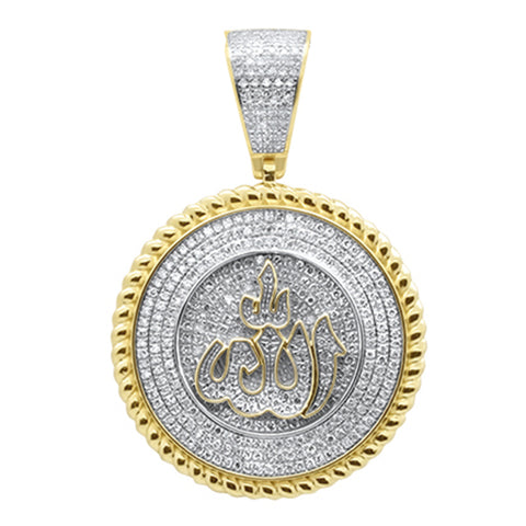 "<span style=""color:purple"">SPECIAL!</span>.91ct G SI 10K Yellow Gold Diamond ""ALLAH"" Iced Out Medallion Charm Pendant"