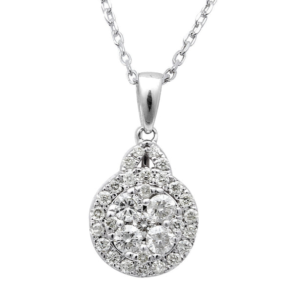.65ct Round Diamond Solitaire Drop Dangle Necklace Pendant 14kt White Gold 18""