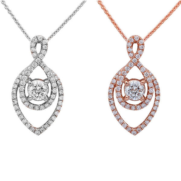 .50ct Diamond Solitaire Drop Dangle Necklace Pendant 14kt Rose or White Gold 18""