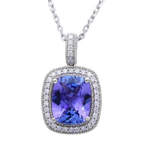 "2.89ct Genuine Tanzanite & F VS Diamond Halo Style Solitaire Pendant 16"" Long"