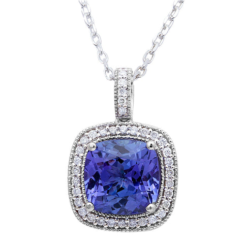 "3.94ct Genuine Tanzanite & F VS Diamond Halo Style Solitaire Pendant 16"" Long"
