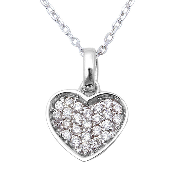 ".15ct Heart Shaped Solitaire Pendant Necklace 14kt White Gold 18"" Chain"