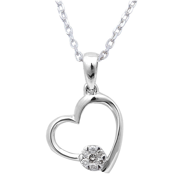 Gift for her! .06ct Round Diamond Heart Pendant Necklace 14kt White Gold
