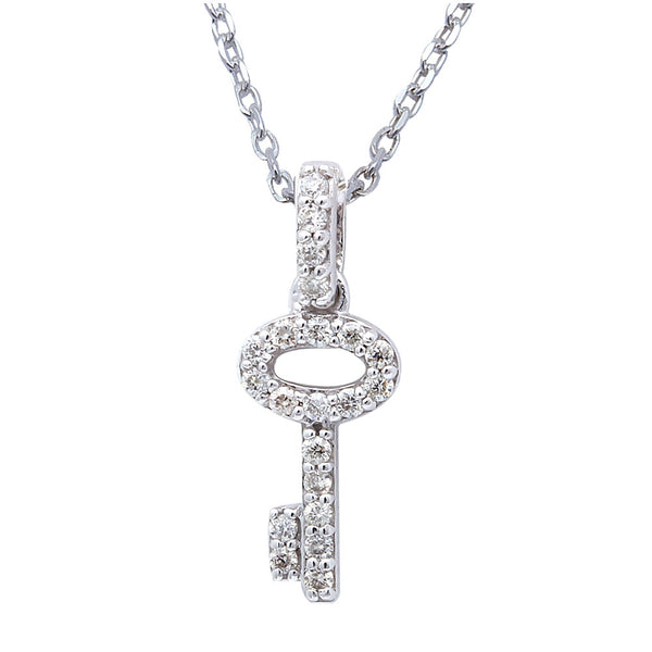 ".11cts Diamond Key Pendant Necklace 18"" White Gold Chain"