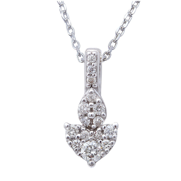 ".14cts Heart Shaped Diamond Solitaire Pendant Necklace 14kt White gold 18"" Chain"
