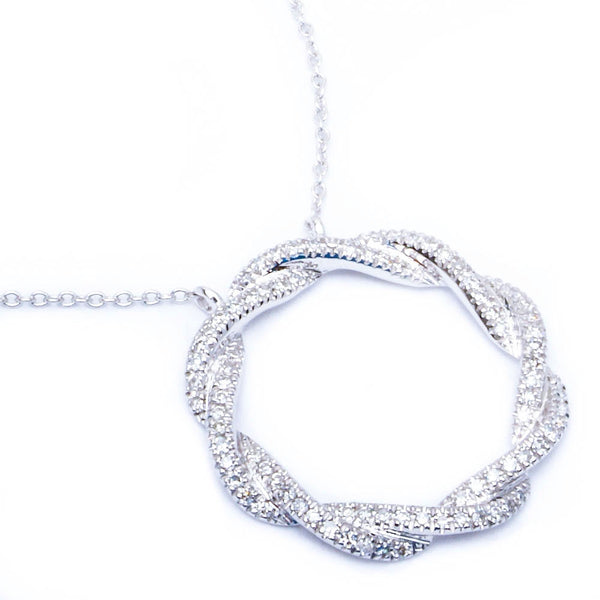 14kt gold Twisted Pave Set Circle of Life Designer Diamond Pendant Necklace