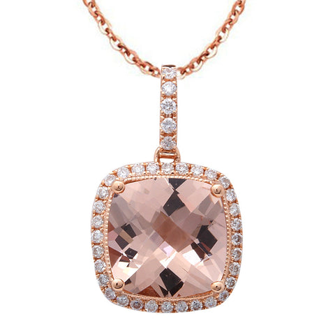 "2.66CT F VS Morganite & Diamond Halo Style 14kt Rose Gold Pendant 18"" Necklace"