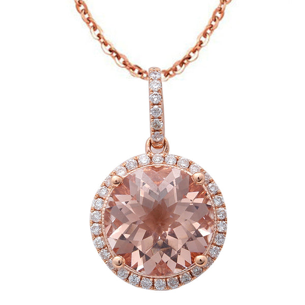 2.71ct F VS Round Morganite & Diamond Halo 14kt Rose Gold Pendant Necklace