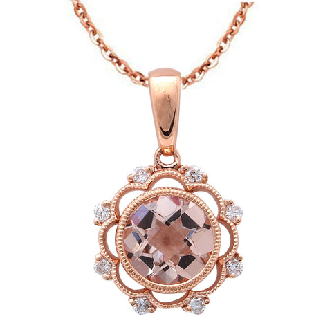 1.16ct F VS Morganite & Diamond Vintage Inspired 14kt Rose Gold Pendant Necklace
