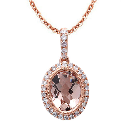 1.27ct F VS Oval Morganite & Diamond Halo 14kt Rose Gold Pendant Necklace