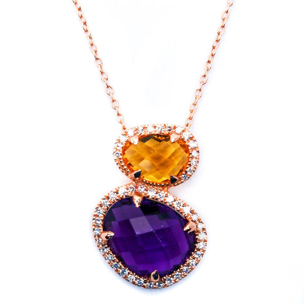 14kt Rose Gold Genuine Cabachon Cut Amethyst, Citrine & Diamond Necklace Pendant
