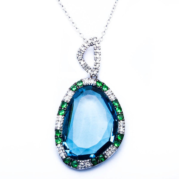 E VS Quality Blue Topaz, Green Garnet & Diamond Gemstone Pendant Necklace