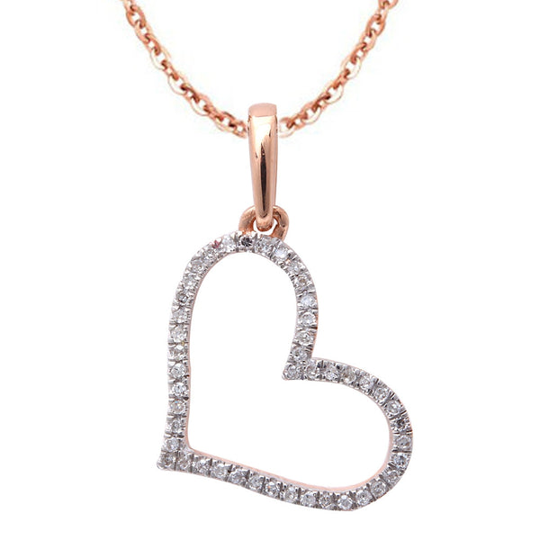 .07ct F SI Diamond Pave Set Heart Pendant 14kt Rose Gold 18""
