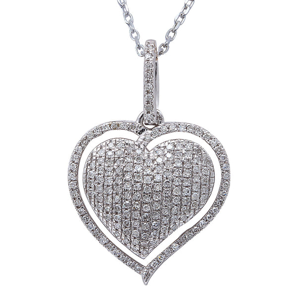 ".26ct F SI Round Diamond Pave Set Heart Pendant 14kt White Gold 18"" Long"
