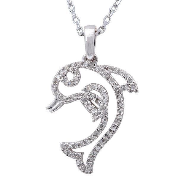 ".11ct F SI Diamond Dolphin Fish Pendant 14kt White Gold 18"" Long"