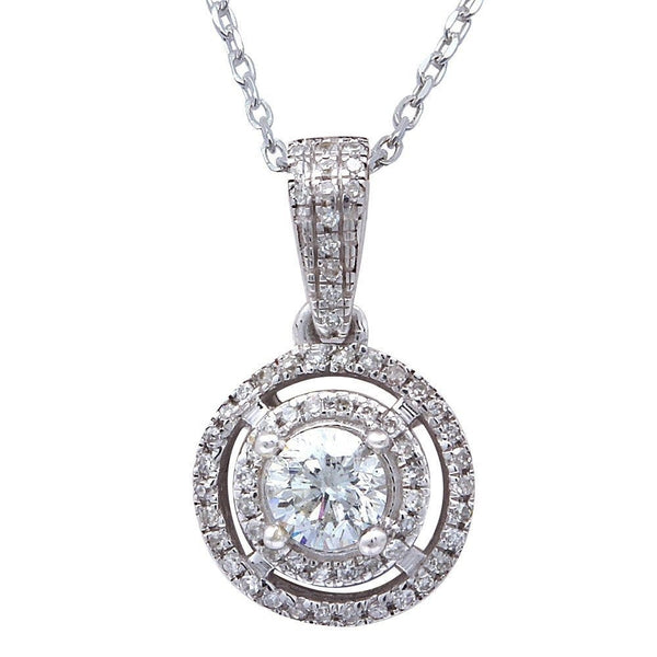 ".35ct Diamond Solitaire Drop Dangle Necklace Pendant 14kt White gold 18"" Chain"